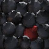 Fondo de la sociedad de los paraguas de la visión superior Rojo en la masa del negro sta Foto de archivo libre de regalías