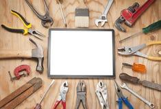Fondo de la tableta de las herramientas imagenes de archivo