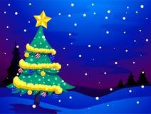 Fondo de la tarde Nevado del árbol de navidad libre illustration