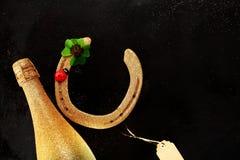 Fondo de la tarjeta de felicitación de la buena suerte del Año Nuevo Imagen de archivo libre de regalías