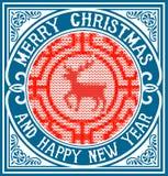 Fondo de la tarjeta de felicitación de la Navidad decoración del ornamento del vintage Fotos de archivo
