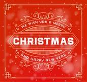 Fondo de la tarjeta de felicitación de la Navidad decoración del ornamento del vintage Foto de archivo