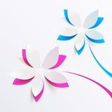 Fondo de la tarjeta de felicitación del vector con las flores de papel Imágenes de archivo libres de regalías
