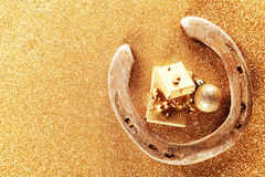 Fondo de la tarjeta de la buena suerte de la Navidad Foto de archivo libre de regalías