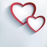 Fondo de la tarjeta del día de San Valentín con dos corazones elegantes 3d ilustración del vector