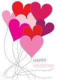 Fondo de la tarjeta del día de San Valentín con los corazones del remiendo Imágenes de archivo libres de regalías