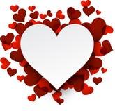 Fondo de la tarjeta del día de San Valentín con los corazones rojos stock de ilustración