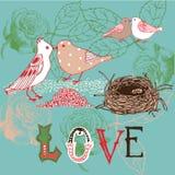 Fondo de la tarjeta del día de San Valentín con los pájaros Foto de archivo