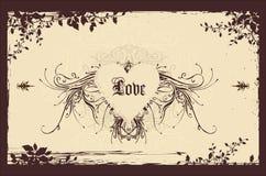 Fondo de la tarjeta del día de San Valentín de la vendimia Fotografía de archivo