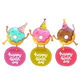 Fondo de la tarjeta del feliz cumpleaños con el buñuelo lindo. ilustración del vector