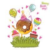 Fondo de la tarjeta del feliz cumpleaños con el buñuelo lindo. Imagen de archivo