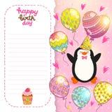 Fondo de la tarjeta del feliz cumpleaños con el pingüino lindo. Foto de archivo