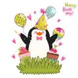 Fondo de la tarjeta del feliz cumpleaños con el pingüino lindo. Fotografía de archivo libre de regalías