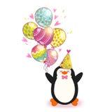 Fondo de la tarjeta del feliz cumpleaños con el pingüino lindo. Fotos de archivo libres de regalías