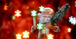 Fondo de la tarjeta del ` s del Año Nuevo con Santa Claus Fotografía de archivo libre de regalías