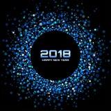 Fondo de la tarjeta de la Feliz Año Nuevo 2018 del vector El disco brillante azul enciende el marco de semitono del círculo Fotografía de archivo