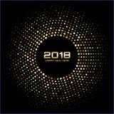 Fondo de la tarjeta de la Feliz Año Nuevo 2018 del vector El disco brillante del oro enciende el marco de semitono del círculo stock de ilustración