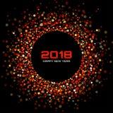 Fondo de la tarjeta de la Feliz Año Nuevo 2018 del vector El disco brillante rojo enciende el marco de semitono del círculo Fotografía de archivo libre de regalías