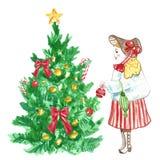 Fondo de la tarjeta de la Navidad y del Año Nuevo con la muchacha que adorna un árbol de navidad ilustración del vector