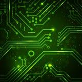 Fondo de la tecnología con los elementos de la placa de circuito. Fotos de archivo libres de regalías