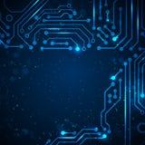 Fondo de la tecnología con los elementos de la placa de circuito. Fotos de archivo