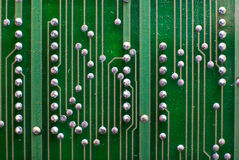 Fondo de la tecnología de la electrónica en verde Fotografía de archivo