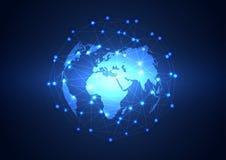 Fondo de la tecnología de red del negocio global, vector Fotos de archivo
