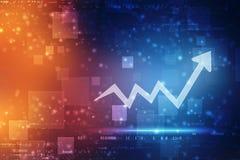 Fondo de la tecnología del aumento de la flecha de la transformación digital futurista de la carta, mercado de acción y fondo abs libre illustration