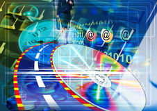 Fondo de la tecnología. Tecnología electrónica biomédica fotos de archivo