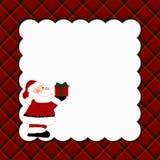Fondo de la tela escocesa de la Navidad con Santa Imagenes de archivo