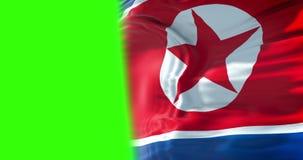 Fondo de la tela de la textura de la bandera de Corea del Norte que agita, crisis del norte y sur Corea, concepto coreano de la g almacen de metraje de vídeo