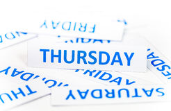 Fondo de la textura de la palabra de jueves Fotos de archivo