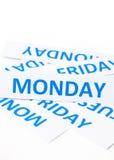 Fondo de la textura de la palabra de lunes Imagen de archivo