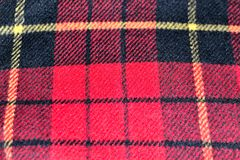 fondo de la textura de las lanas del tartán del modelo del cuadrado rojo Imagen de archivo