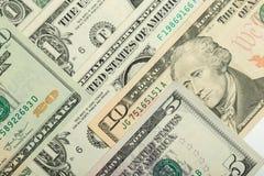 Fondo de la textura de los billetes de banco del dinero del dólar de los E.E.U.U. Imágenes de archivo libres de regalías
