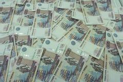 Fondo de la textura del primer de las rublos rusas del dinero foto de archivo