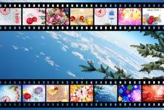 Fondo de la tira de la película de las vacaciones de invierno Foto de archivo libre de regalías