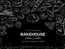 Fondo de la tiza de la panadería El pan de la pizarra y la bandera de las tortas, las galletas de la mano y las empanadas exhaust stock de ilustración