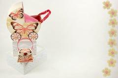 Fondo de la torta del bebé de la mariposa Fotos de archivo