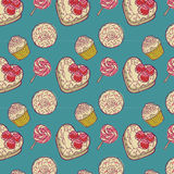 Fondo de la torta y del lollipop Imagenes de archivo