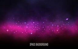Fondo de la vía láctea Concepto rosado y púrpura Stardust y estrellas brillantes Galaxia colorida con la nebulosa y las estrellas ilustración del vector