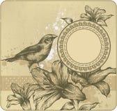 Fondo de la vendimia con el marco, lirios florecientes y Fotografía de archivo