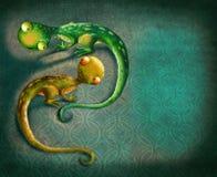 Fondo de la vendimia con lagartos Imagen de archivo