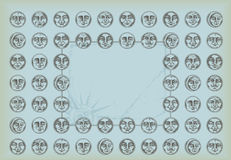 fondo de la vendimia con las caras y el espacio f del círculo Fotos de archivo libres de regalías