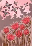 Fondo de la vendimia con las flores ilustración del vector