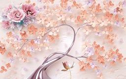 Fondo de la vendimia con las flores stock de ilustración