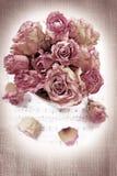 fondo de la vendimia con las rosas secadas Fotografía de archivo libre de regalías