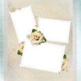 Fondo de la vendimia con los marcos del sello, rosas amarillentas Imagenes de archivo