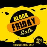 Fondo de la venta de Black Friday con efecto amarillo Bandera de la venta Stock de ilustración