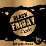 Fondo de la venta de Black Friday con efecto del oro Bandera de la venta Ilustración del Vector